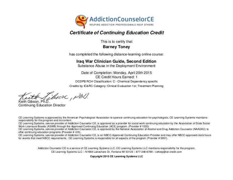 Certificate Deployment Substance Abuse