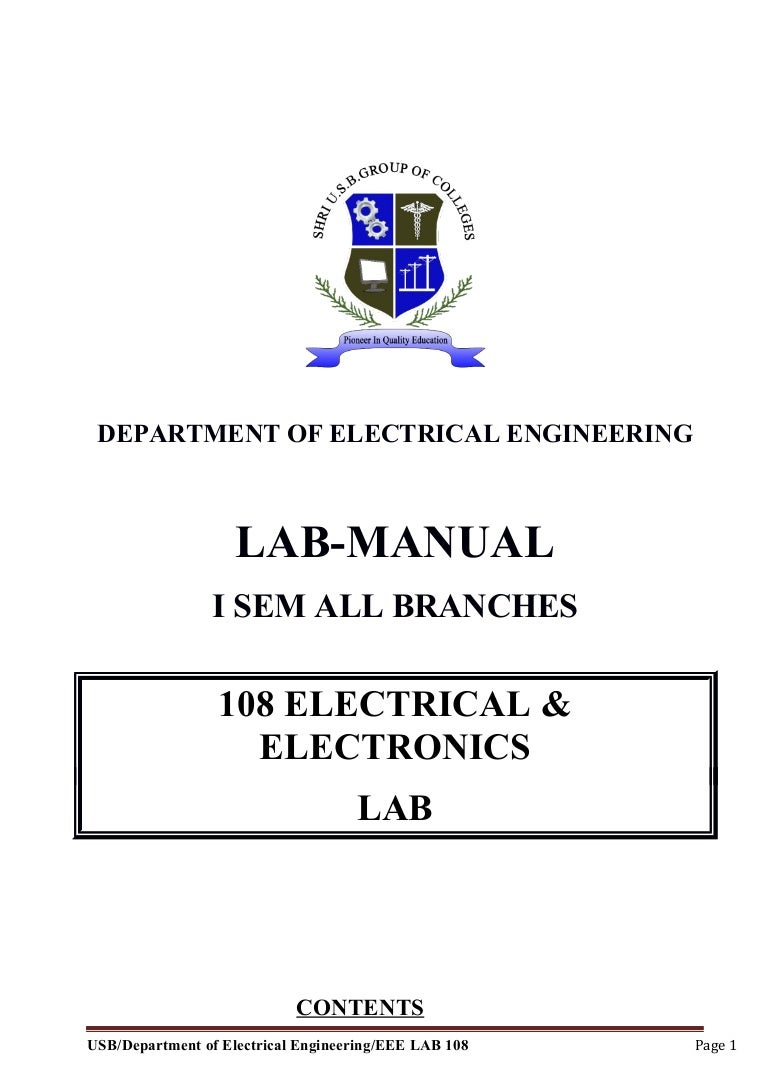 Electrical And Electronics Lab Manual Photo Cell Wiring Diagram Mercury Vapor