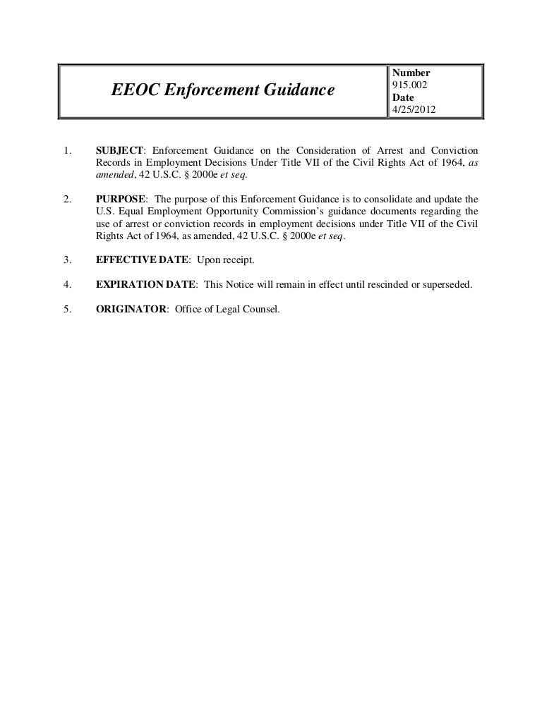 EEOC Enforcement Guidance on the Consideration of Arrest and Convicti…