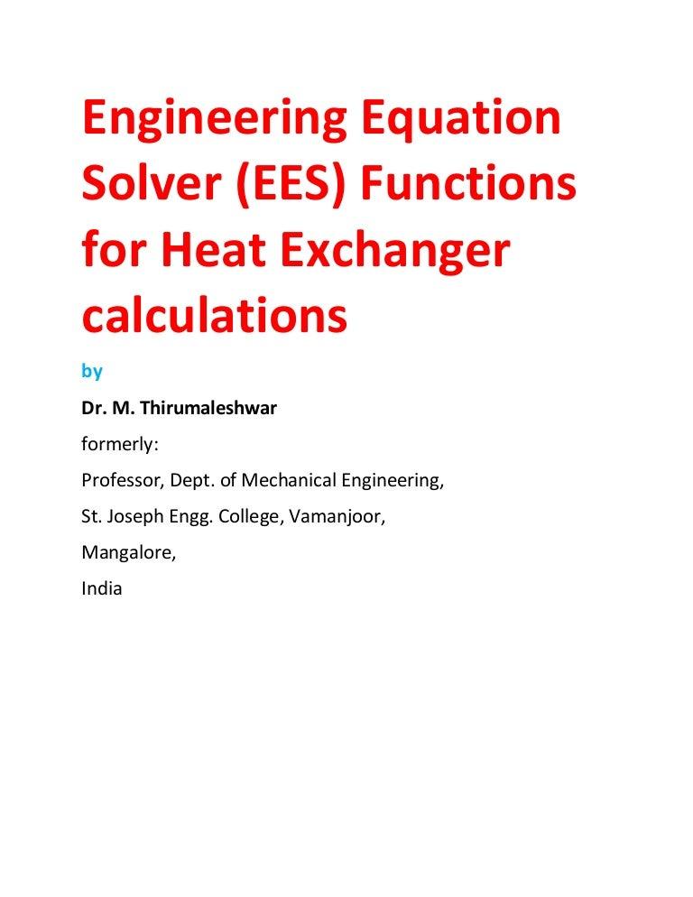Ees procedures and functions for heat exchanger calculations fandeluxe Image collections