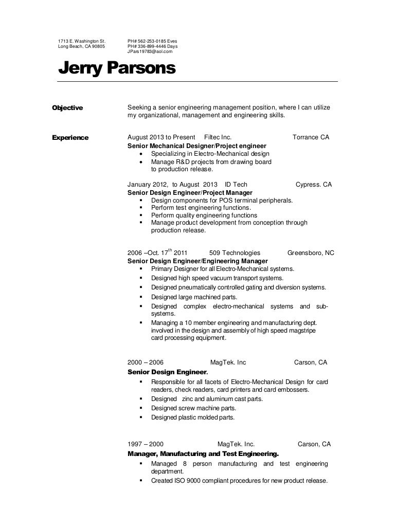 Jerry Parsons Resume 2016, Engineer Manager