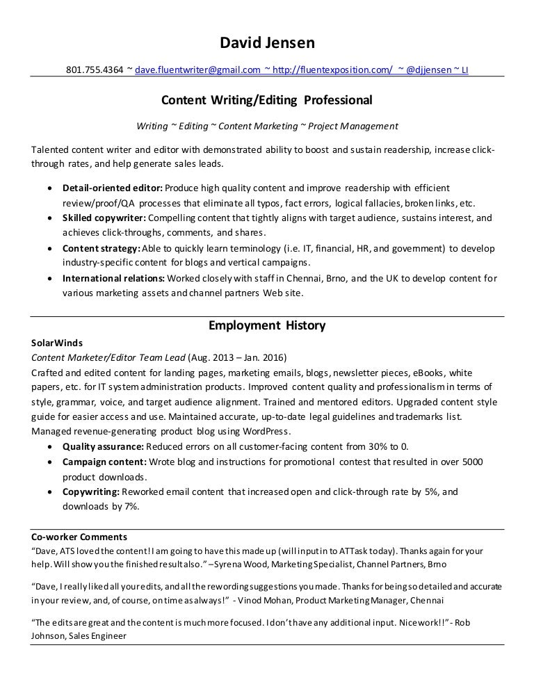 content writer resumeb