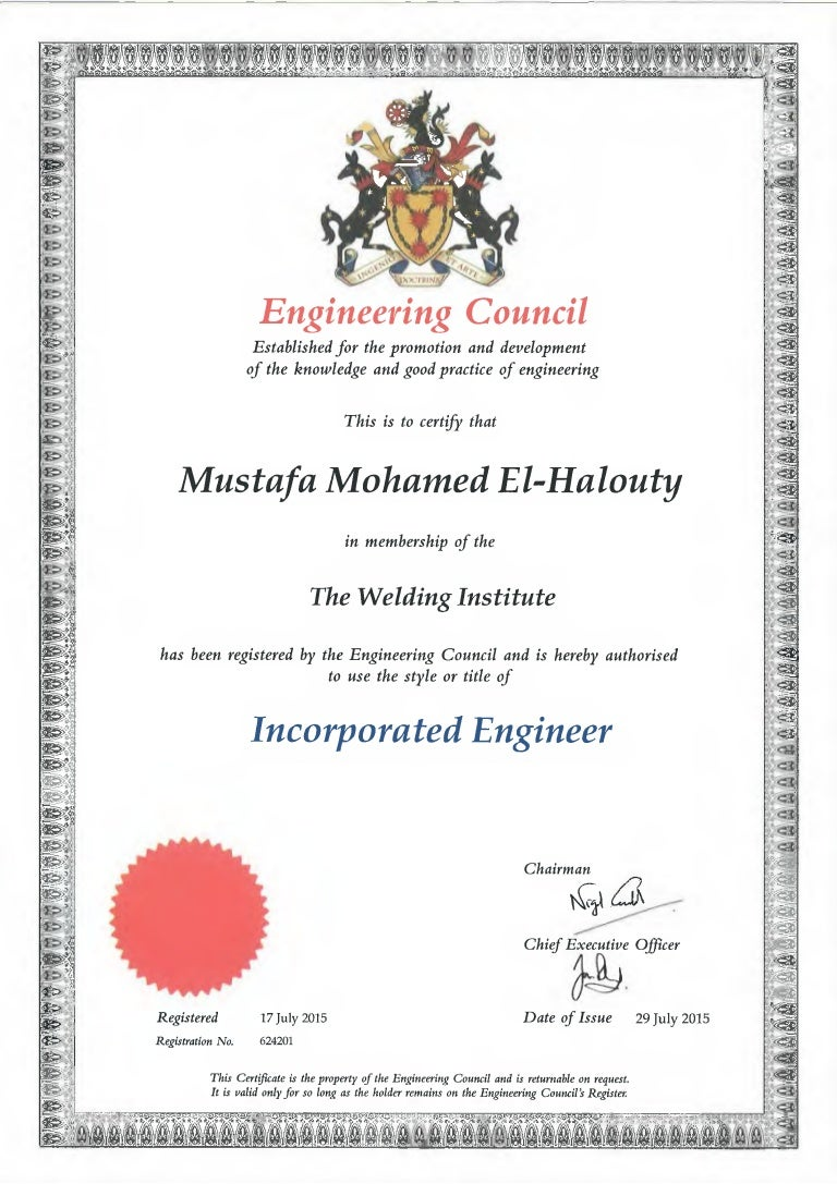 engineering council incorporated engineer certificate