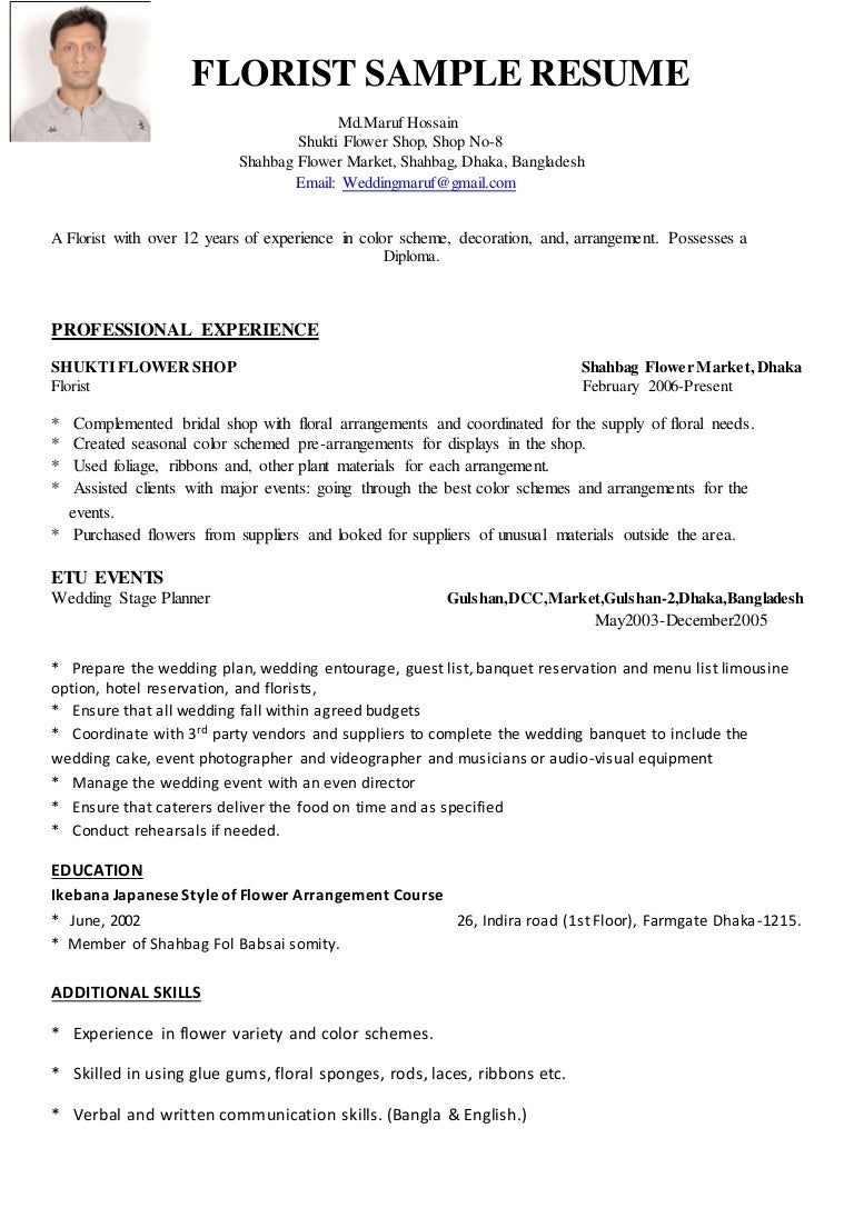 Florist Resume Urgup Kapook Co