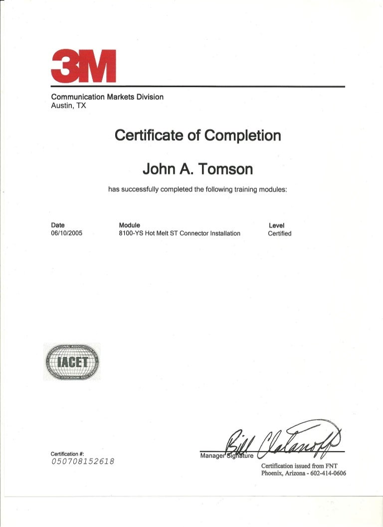 3m certificate of completion 6 10 05 xflitez Choice Image