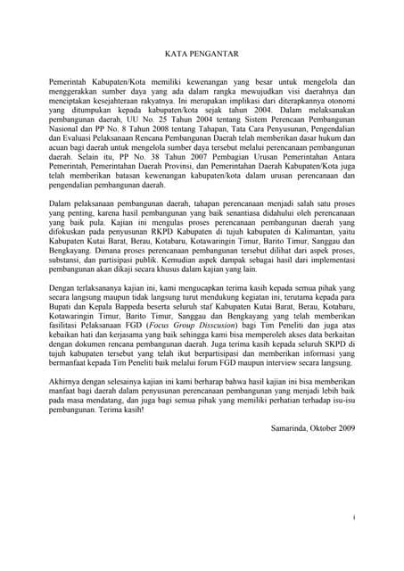Kajian Efektivitas Penyusunan Perencanaan Pembangunan Daerah di Kalimantan.