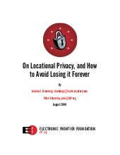 Electronic Frontier Foundation - Locational Privacy