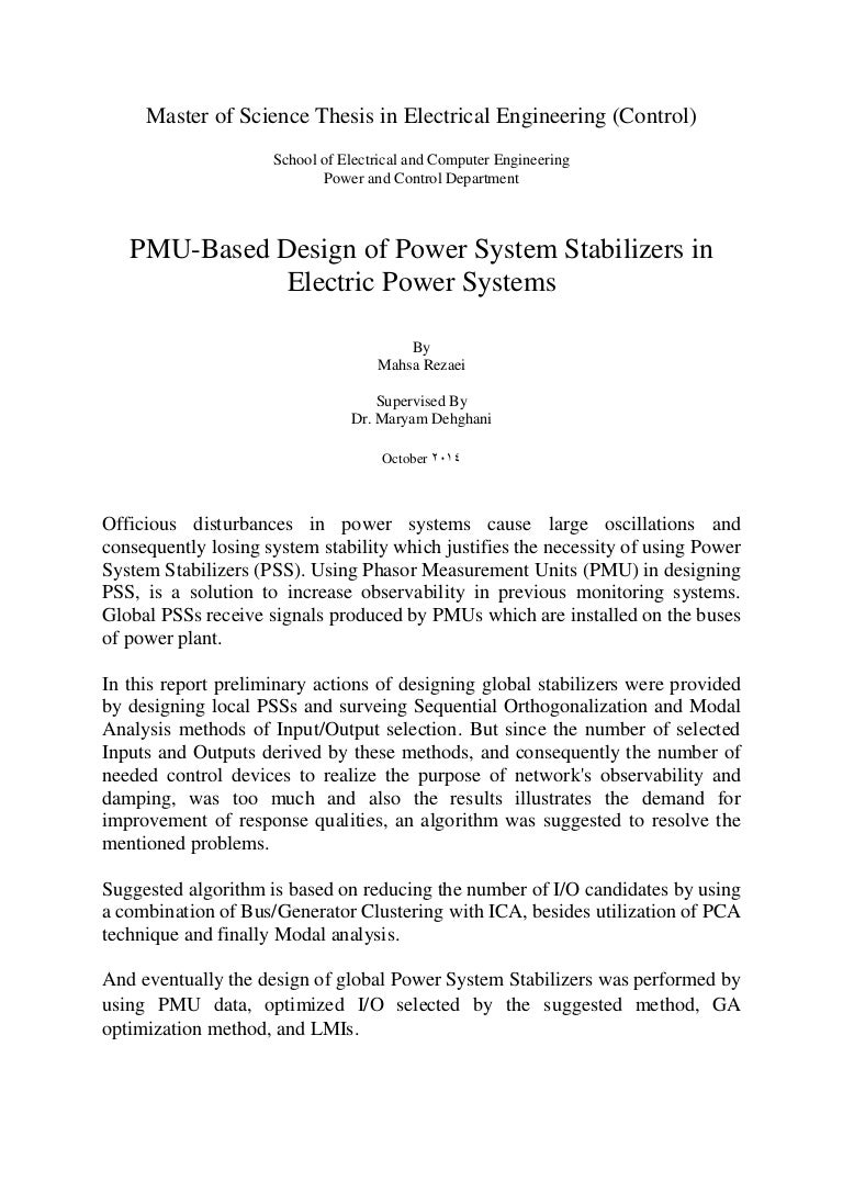 Thesis electrical power engineering factor medical thesis xiii