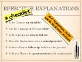 Effective Explanations: A Checklist