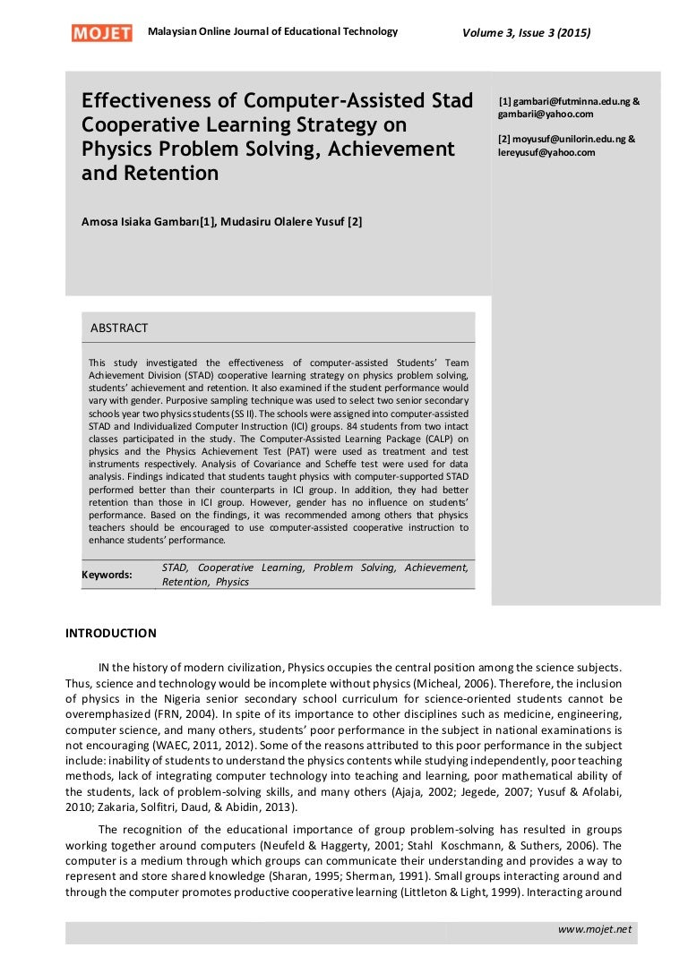 effectiveness of computer assisted stad cooperative learning strategy