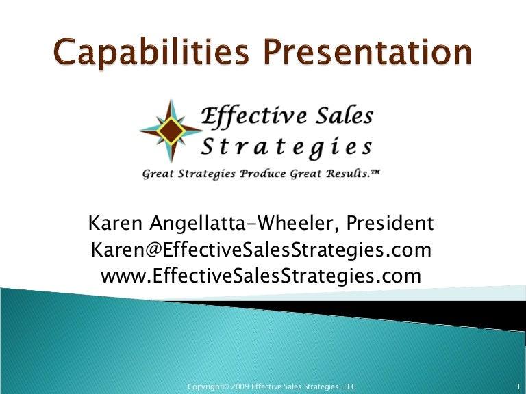effective sales strategies capabilities presentation 3 09
