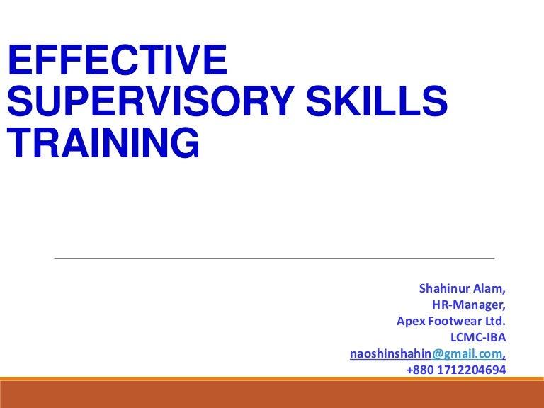 Effective Supervisory Skill Trainig