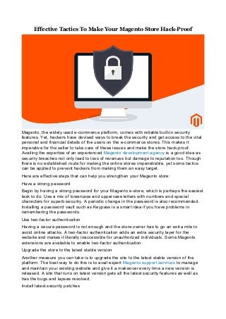 Effective tactics to make your magento store hack proof