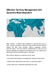 Effective territory management with dynamics map integration
