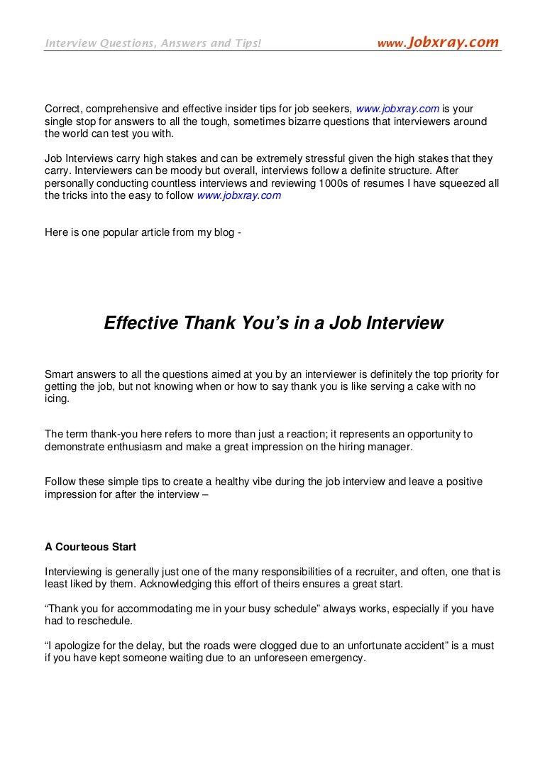 Effective thank yous in a job interview from jobxray altavistaventures Gallery