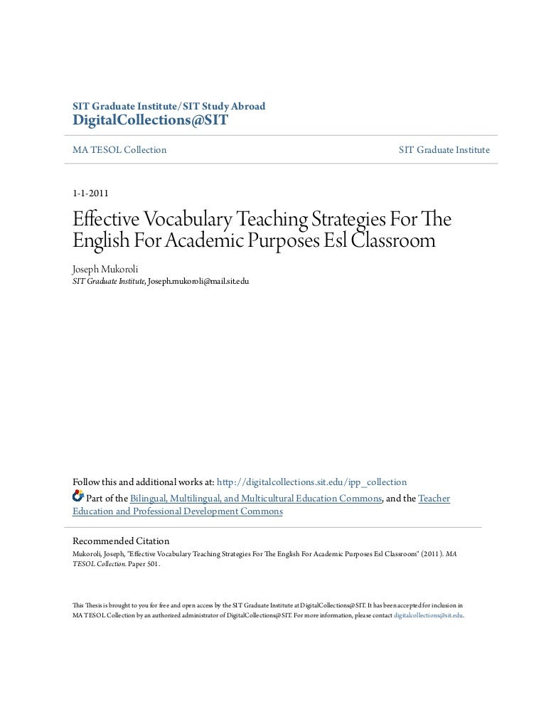 thesis on vocabulary teaching strategies