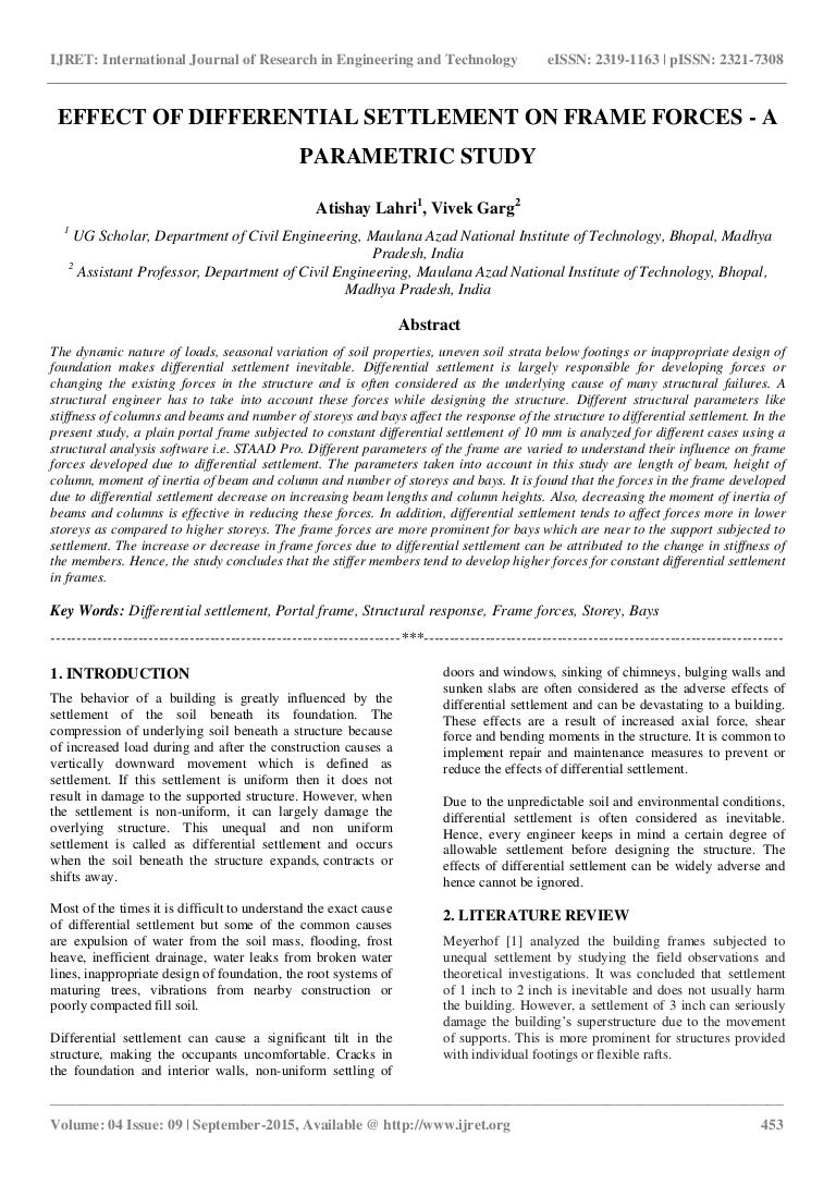 Effect Of Differential Settlement On Frame Forces A Parametric Study Water Diagram Furthermore Bending Moment Portal