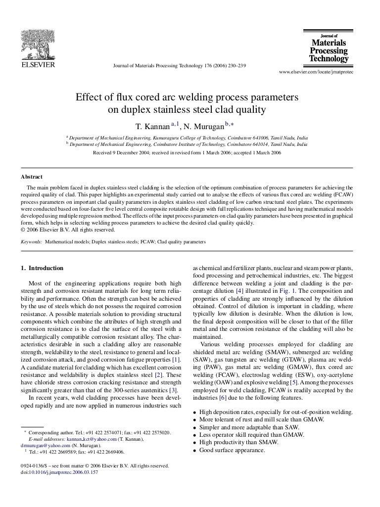 of flux cored arc welding process parameters ond duplex stainless stee…