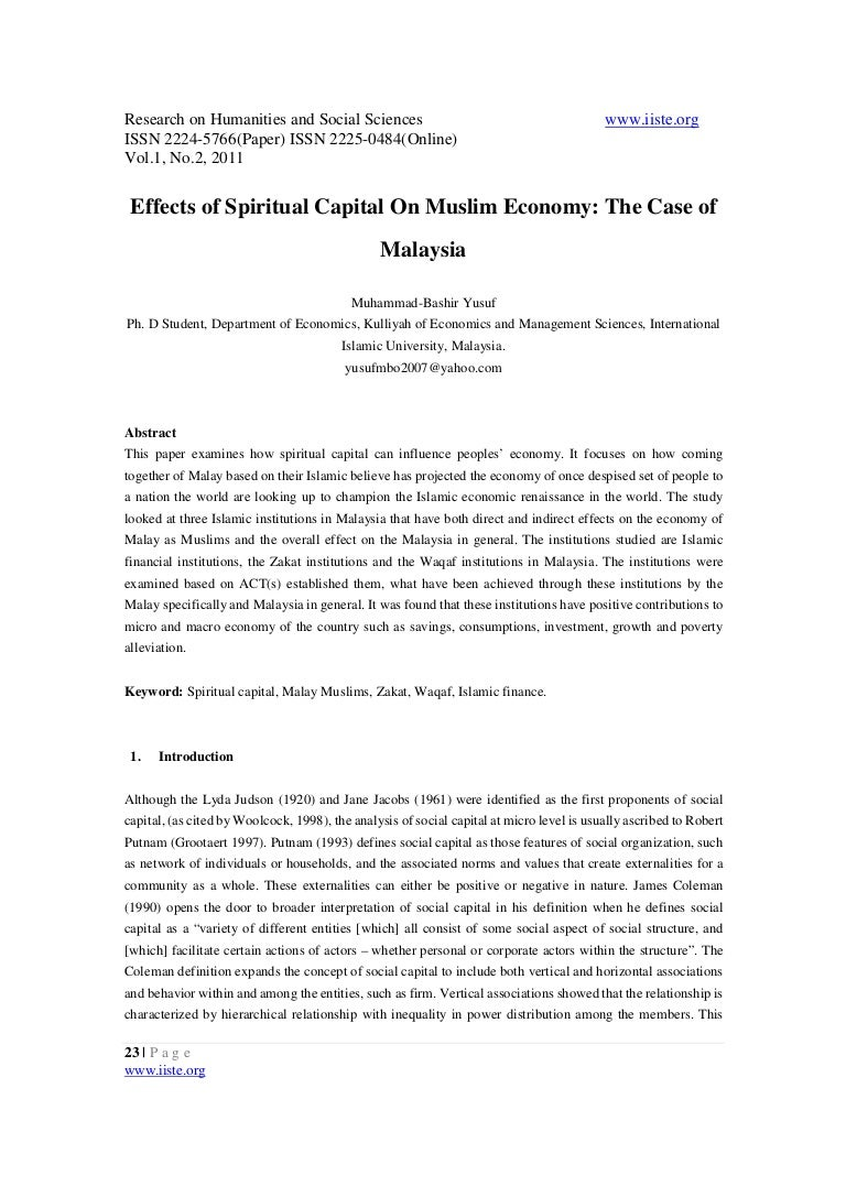 Effects Of Spiritual Capital On Muslim Economy The Case Of Malaysia