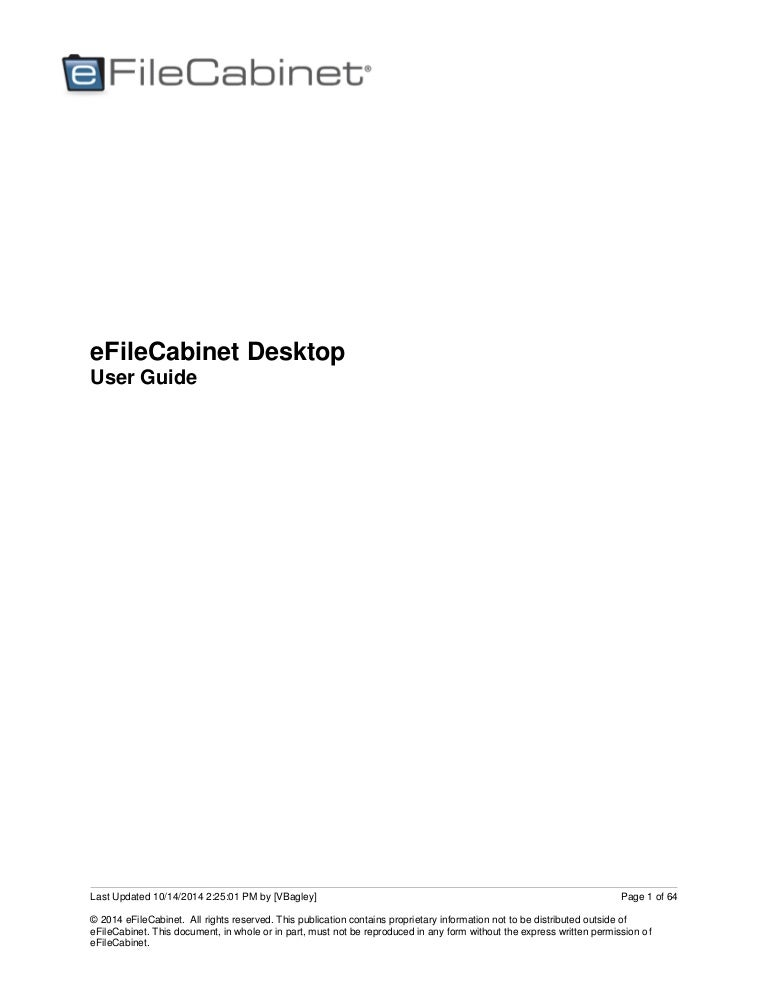 Efilecabinet Desktop User Guide