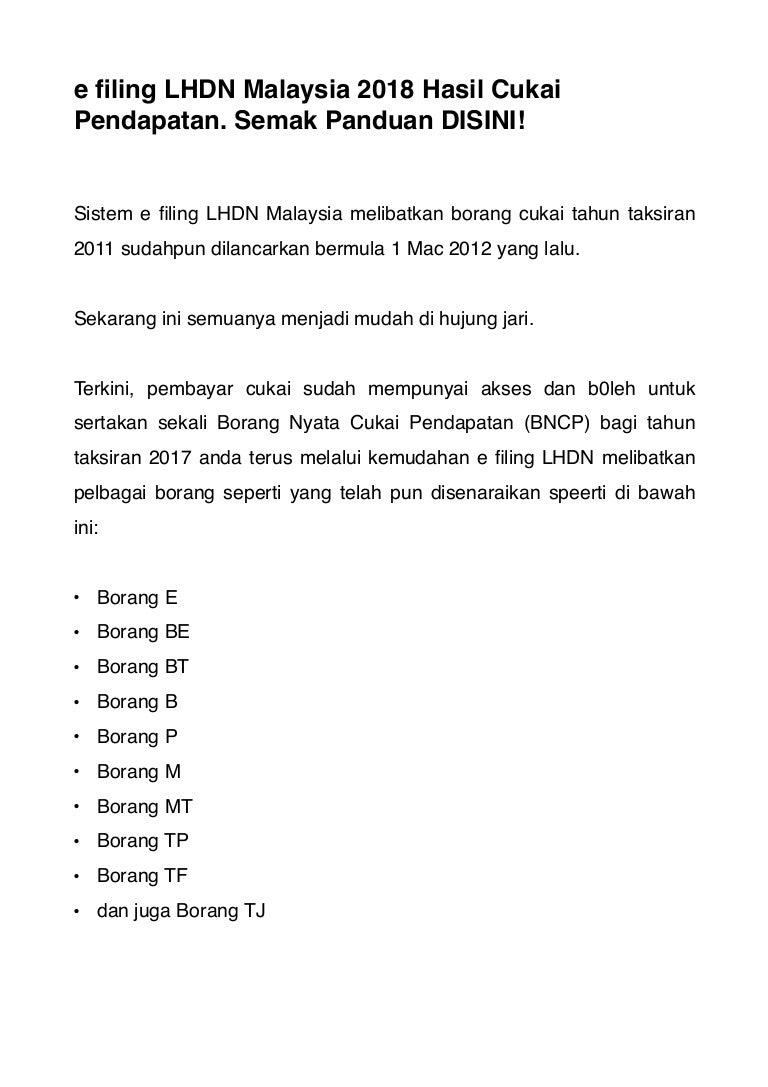 Efiling Lhdn Secara Online Di Malaysia