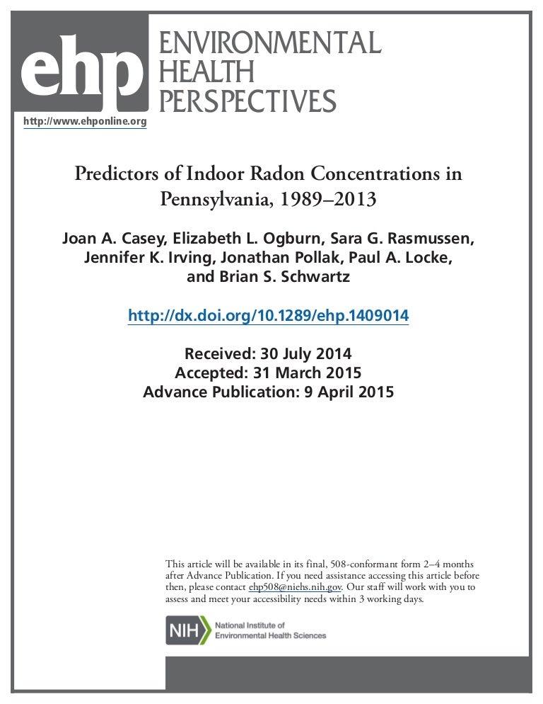 Predictors of Indoor Radon Concentrations in Pennsylvania