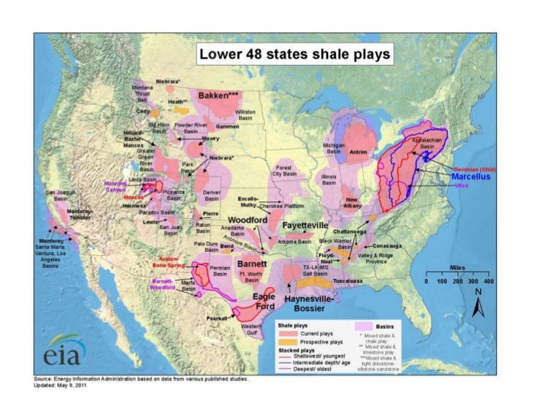 EIA Map Showing Lower US States Shale Plays - Map of us shale plays