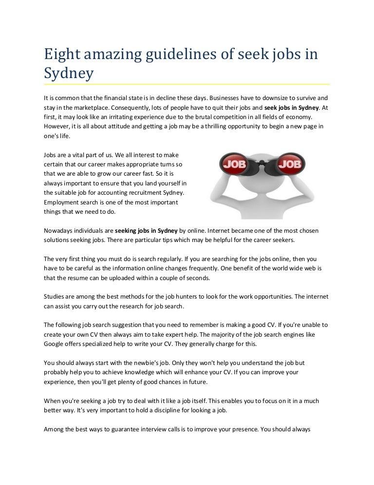 Eight amazing guidelines of seek jobs in sydney