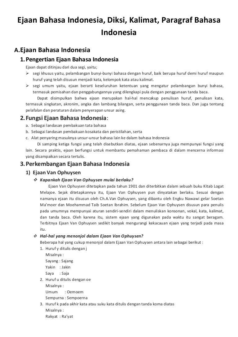 Ejaan Diksi Kalimat Dan Paragraf Bahasa Indonesia
