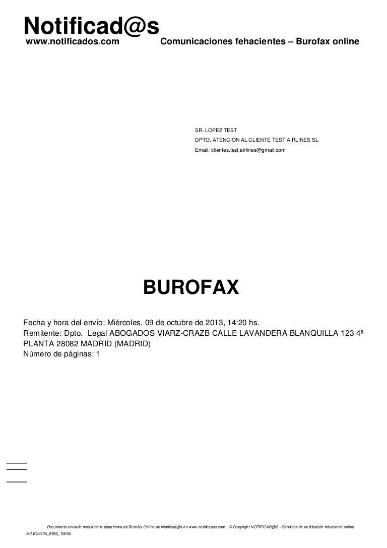 ejemplo  burofax electr u00f3nico creado mediante plantilla en