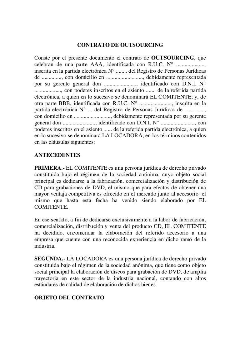 Ejemplo De Contrato De Outsourcing