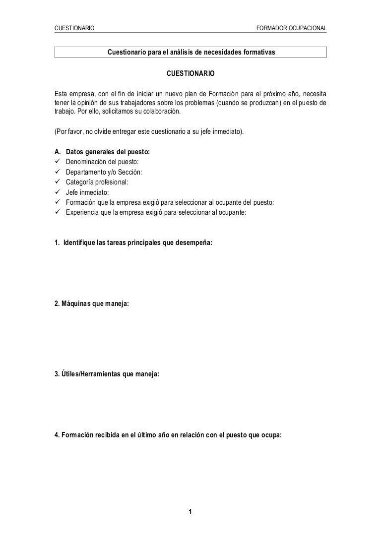 Ejemplo de cuestionario para el análisis de necesidades formativas