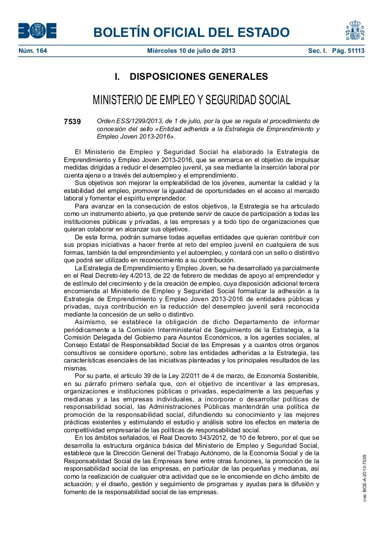 Ejemplo orden ministerial