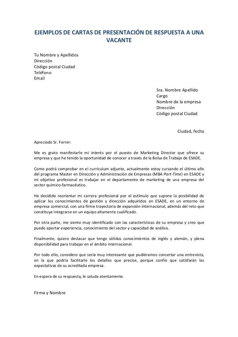 Famoso Reanuda Ejemplos De Cartas De Presentación Galería - Ejemplo ...