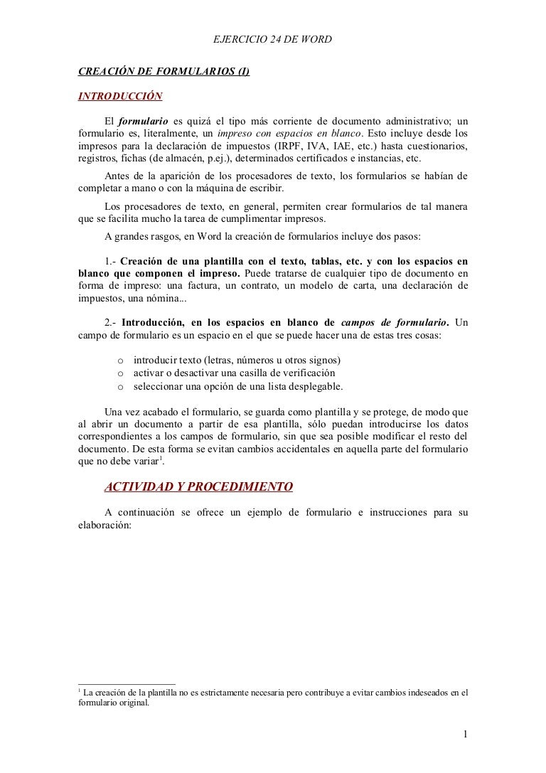 Ejercicio De Formularios En Word