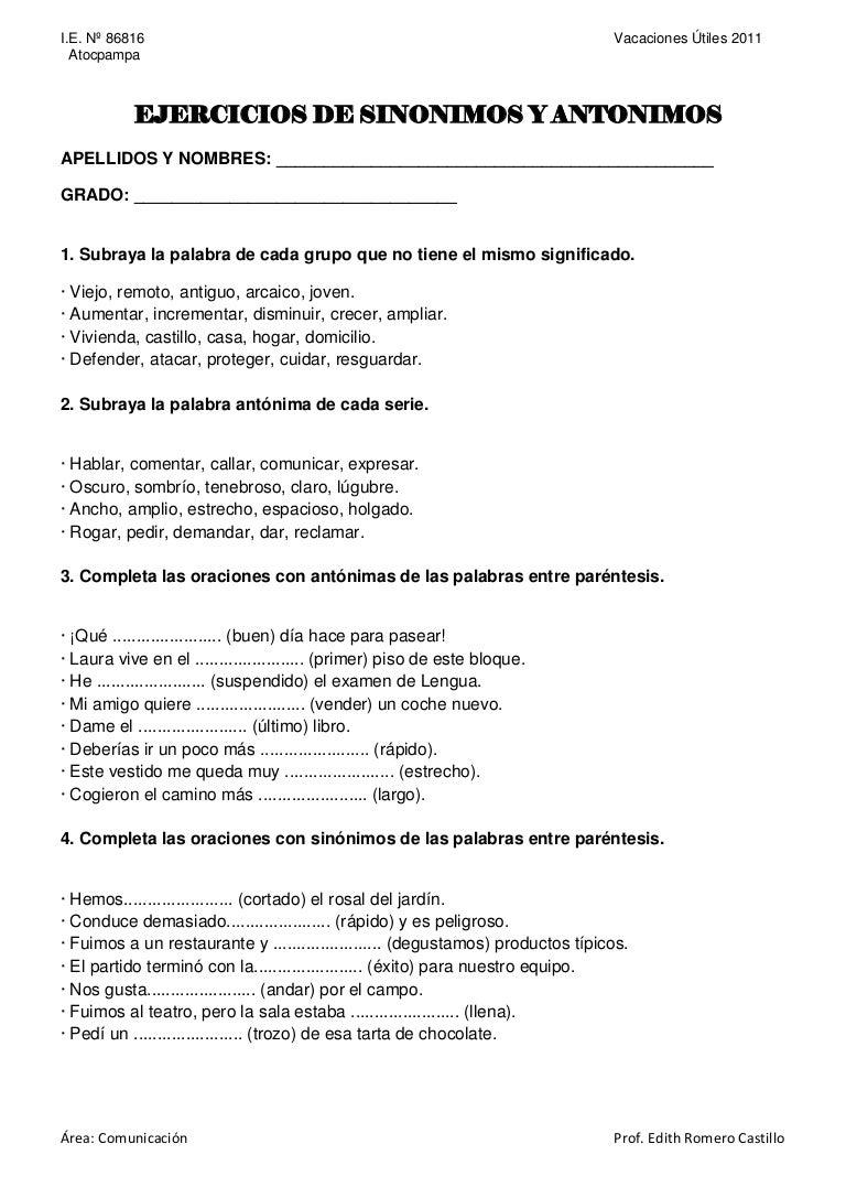 Único Antónimos Y Sinónimos De Hoja De Cálculo Galería - hojas de ...