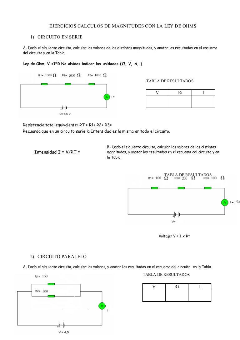 Calculos de magnitudes con la ley de ohms