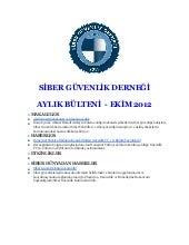 Ekim 2012 Siber Güvenlik Derneği Bülteni