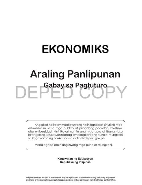 Araling Panlipunan Grade 9 Pdf