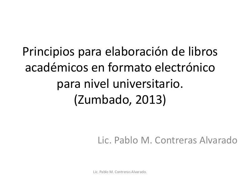 Principios Para Elaboracion De Libros Academicos En Formato Electroni