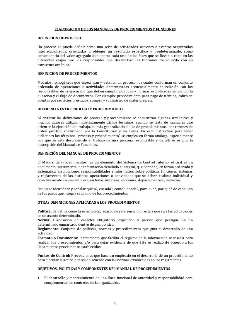 Elaboración de manuales de procedimientos y funciones