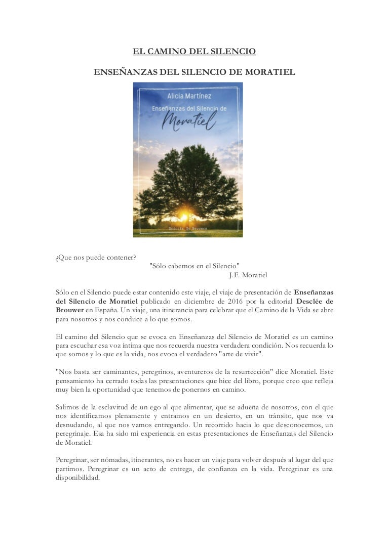 'El camino del silencio'. Presentación del libro