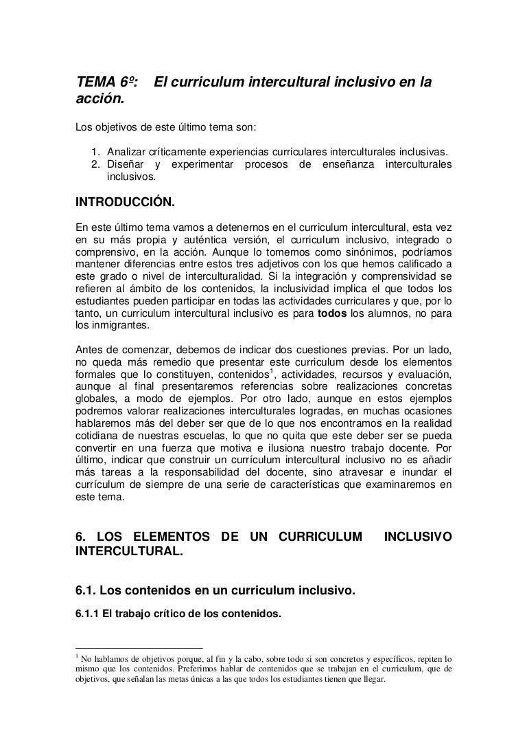 El Curriculum Intercultural Inclusivo En La Accion