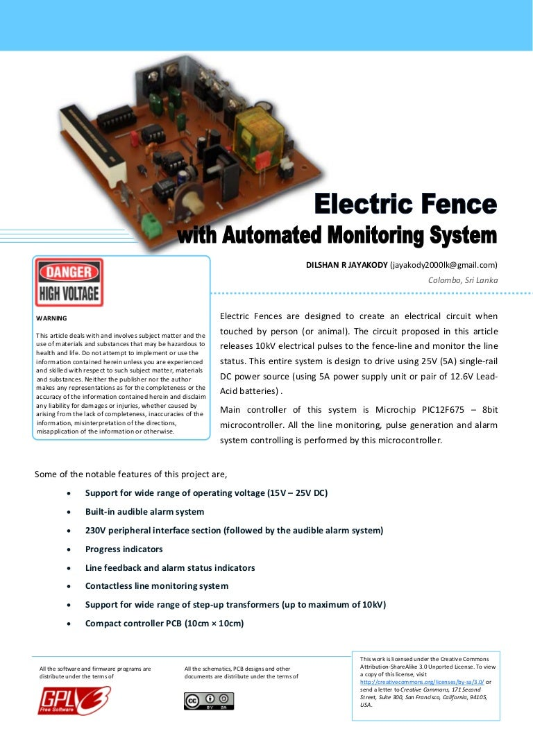 Electric Fences With Automated Monitoring System Fence Tester Circuits