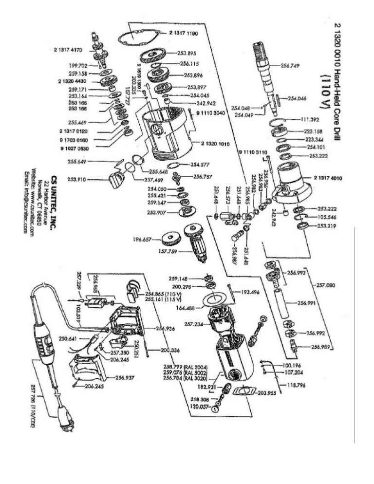Cs Unitec Electric Core Drill Schematics 2 1320 0010