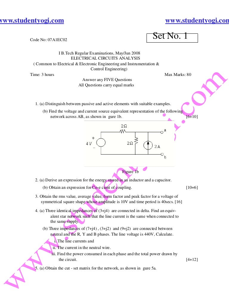 electrical circuits analysis jntu model paper{www studentyogi com}
