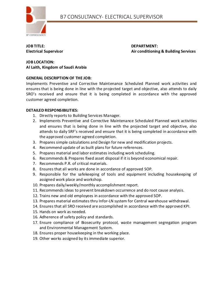 Electrical Supervisor Job Description