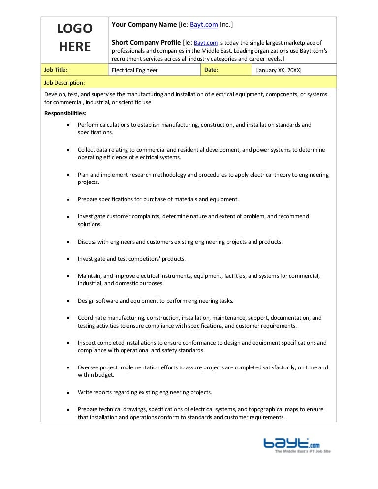 Electrical Engineer Job Description Template By BaytCom