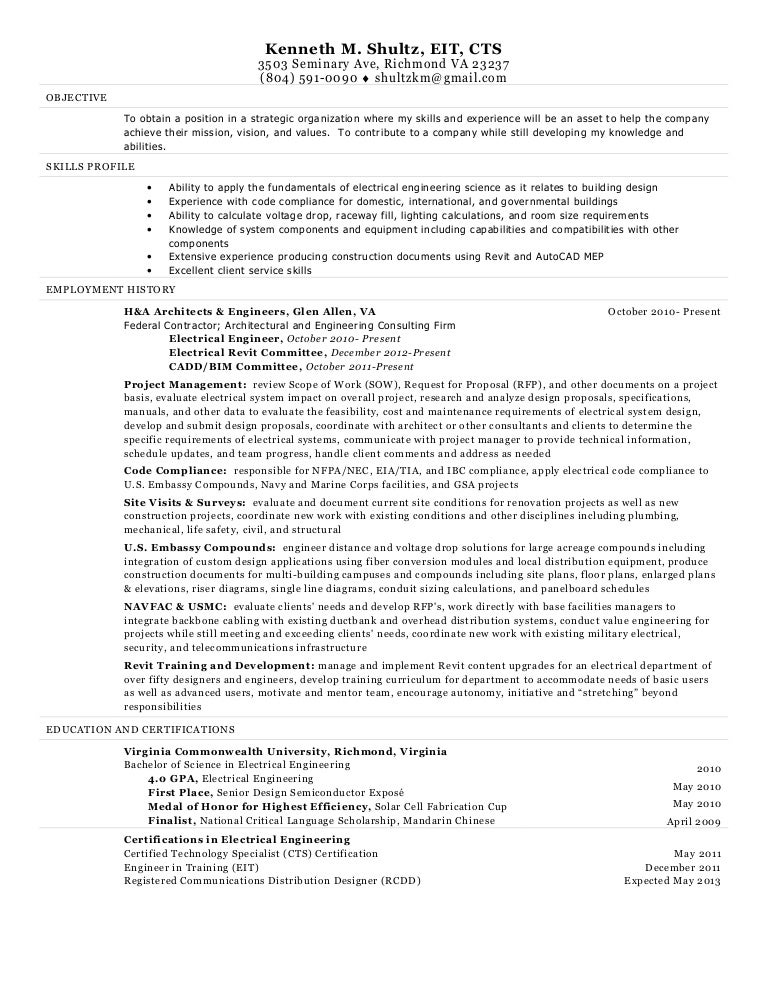 electrical engineer resume kenneth shultz - Marine Electrical Engineer Sample Resume