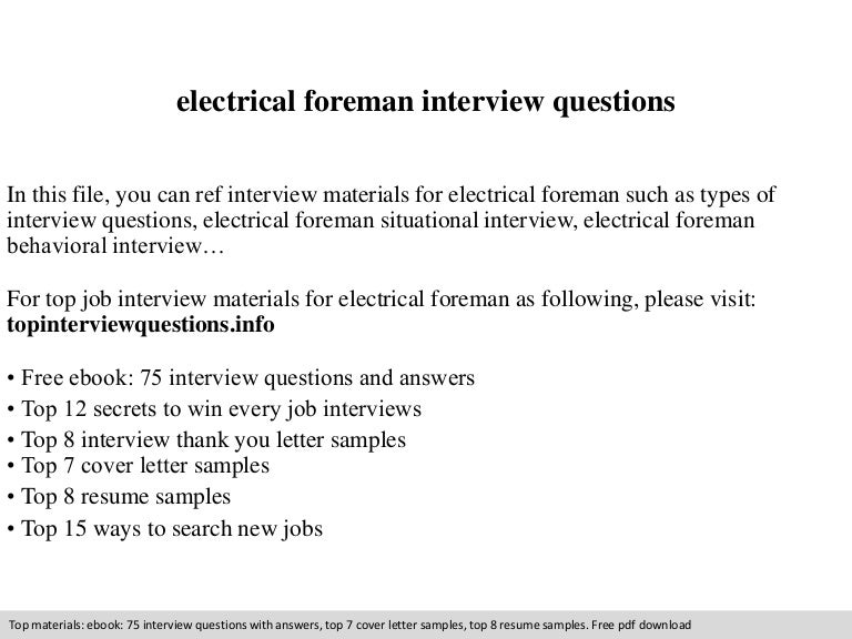 Electrical foreman interview questions